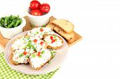 picture of hardtack  - Sandwiches with cottage cheese and greens on plate isolated on white - JPG