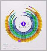 Abstract Calendar 2014 (Federal Holidays, USA, included)