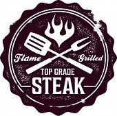 Vintage Grilled Steak Menu Stamp