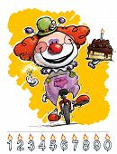 Clown On Unicycle Carrying A Birthday Cake