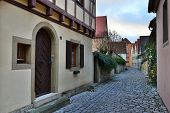 Street Of Town Rotenburg On Tauber In Germany