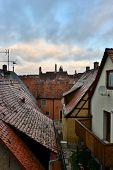 View To The Roofs In Old Town Rotenburg On Tauber,