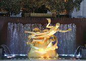 Statue of Prometheus under Rockefeller Center Christmas Tree at the Lower Plaza, Rockefeller Center