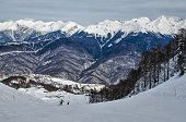 stock photo of sochi  - Olympic ski trail Rosa Khutor Sochi Russia - JPG