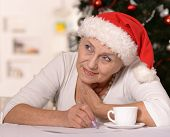 Elderly woman with gift
