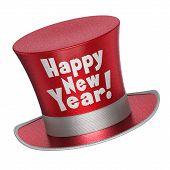 3D Render Of A Red Happy New Year Top Hat