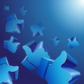 Flying 3d Like symbols on blue background