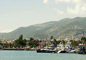 Turkey Alanya Mediterranean sea coastal panorama view of the city and the beach of Cleopatra