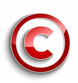 Copyright Symbol With Shadow Effect Isolated On White Background