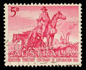 AUSTRALIA - CIRCA 1960: a stamp printed in the Australia shows The Overlanders by Sir Daryl Lindsay, Centenary of Exploration of Australias Northern Territory, circa 1960
