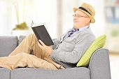 Senior man with hat on a sofa reading a novel at home