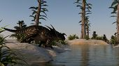 einiosaurus near lake shore
