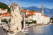 Ancient Lion Statue In Perast Town, Bay Of Kotor, Montenegro