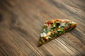 Pizza Slice Wooden Plank Rucola, Dried Tomatoes, Cheese