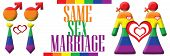 foto of same sex marriage  - Gay and lesbian symbols in rainbow with same sex marriage text next to it - JPG