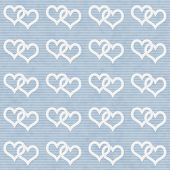 White Interwoven Hearts And Blue Thin Stripes Horizontal Textured Fabric Background
