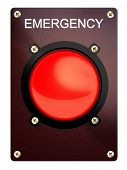 Emergency stop button on a white background