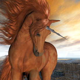 picture of fillies  - A beautiful chestnut unicorn prances with its wild mane flowing and muscles shining - JPG