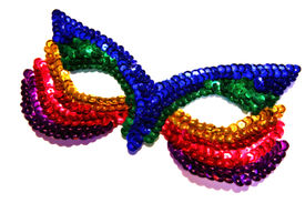stock photo of masquerade mask  - rainbow coloured fancy dress mask - JPG