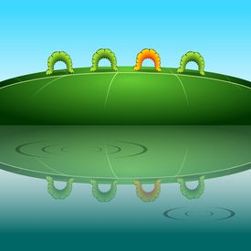 stock photo of inchworm  - Parade of colorful inchworms creep one after another reflected in the water - JPG