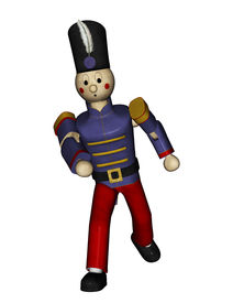 picture of tchaikovsky  - From the Nutcracker suit Toy Soldier in blue uniforming marching or fighting front view Illustration on clean white background - JPG