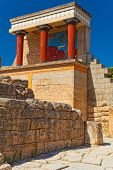 Northern entrance to Knossos palace, island of Crete. Greece.