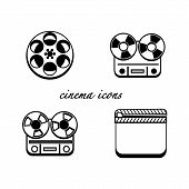 Black and white minimalistic cinema icons