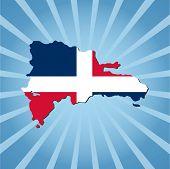 Dominican Republic map flag on blue sunburst illustration