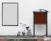 Blank Advertising Sign With Bike