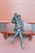 Sculpture Of Skipper With A Monkey In Kaliningrad, Russia.