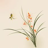 Orchid flowers and butterfly. vectorized brush painting.