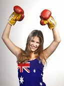 Success Woman Celebrating For Her Succes With The Flag Of Australia