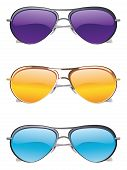 pic of cheater  - Set of colorful sunglasses on white background - JPG