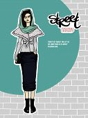 Vector illustration girl, street fashion look
