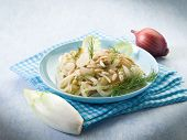 foto of endive  - salad with sauteed endive onions and pine nuts - JPG
