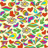 Abstract Vivid Seamless Summer Pattern Painted By Hand.