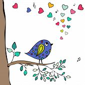 Blue Bird, Hand-drawn Sitting On A Tree Branch With Hearts Notes.