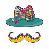 Colorful Hat And Mustache Isolated On White. Drawing By Hand.
