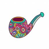 Bright Hipster Smoking Pipe Painted With Patterns. Hand Drawn Fashion Illustration
