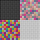 Set Of Abstract Patterns Of Different Graphic Elements For Color Variations