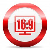 16 9 display glossy web icon
