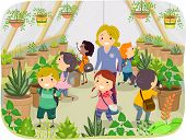 Illustration of Kids Touring a Greenhouse