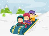 stock photo of sled  - Illustration of Kids Riding on a Snow Sled - JPG