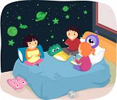 Illustration of Kids in a Room with Glow in the Dark Stickers