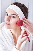 Woman Morning Makeup Preparations