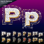 Shiny font of gold and diamond vector illustration. Letter p