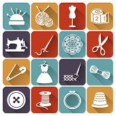 stock photo of paper craft  - Set of sewing and needlework icons - JPG