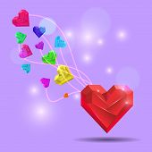 Abstract Valentine. Heart Gem. Vector
