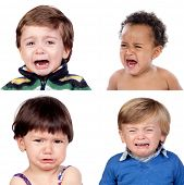 Photo collage of four children crying isolated on white background