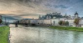 Salzburg Skyline With River Salzach In Salzburger Land, Austria